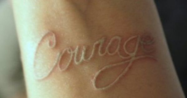 White Ink Nice Scarification Courage Text Tattoo