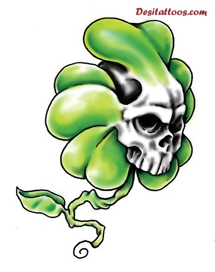 White Ink Skull Green Shamrock Tattoo