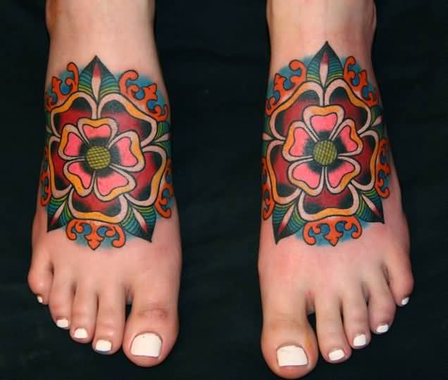 White Nail Girl Foot Design With Nice Old School Flower Tattoo