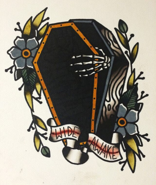 Wide Awake Banner Nice Old School Ghost Coffin Tattoo Stencil