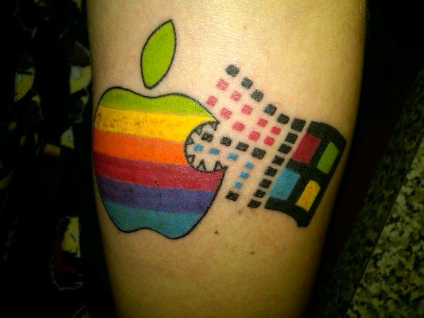Window With All Colors Apple Logo Tattoo