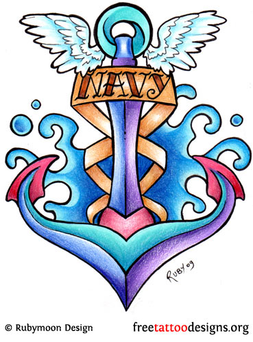 Winged Anchor DEsign With Navy Banner Tattoo