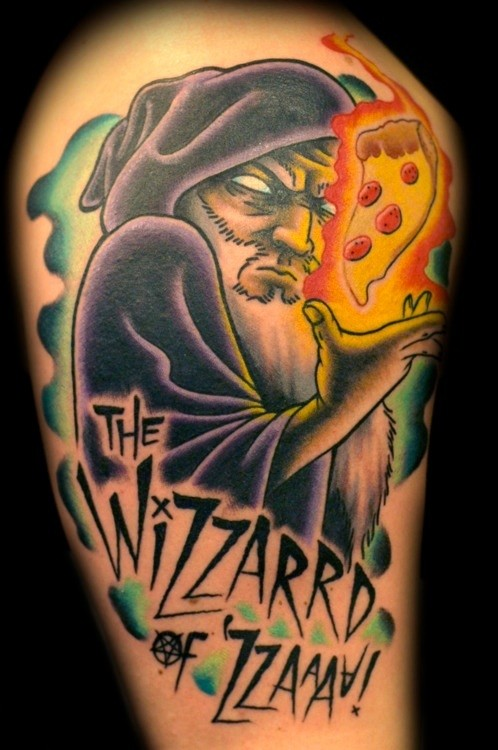 Wizard With Pizza Tattoo Design With Letters