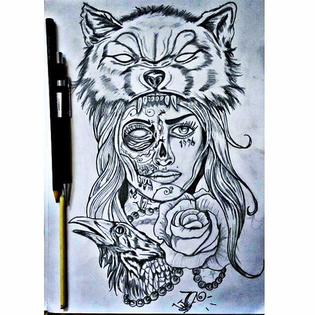 Wolf Catrina With Rose And Crow Face Tattoo