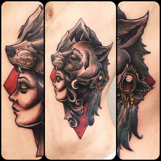 Wolf Scary Eyes Girl Face Old School Tattoo On Rib Side For Men