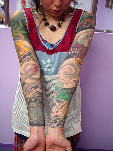 Women Sleeve Sea Creature Tattoo