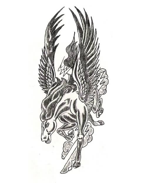 Wonderfu Angry Mood Pegasus Tattoo Design Stencil