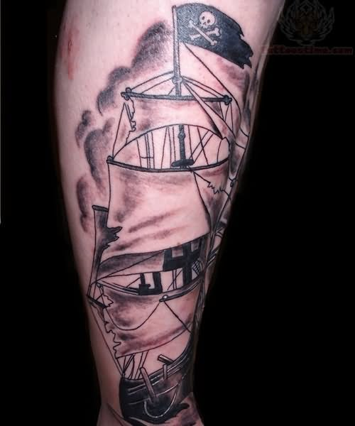 Wonderful And Amazing Jolly Roger Pirate Ship Tattoo