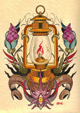 Wonderful And Nice Lantern Tattoo Stencil