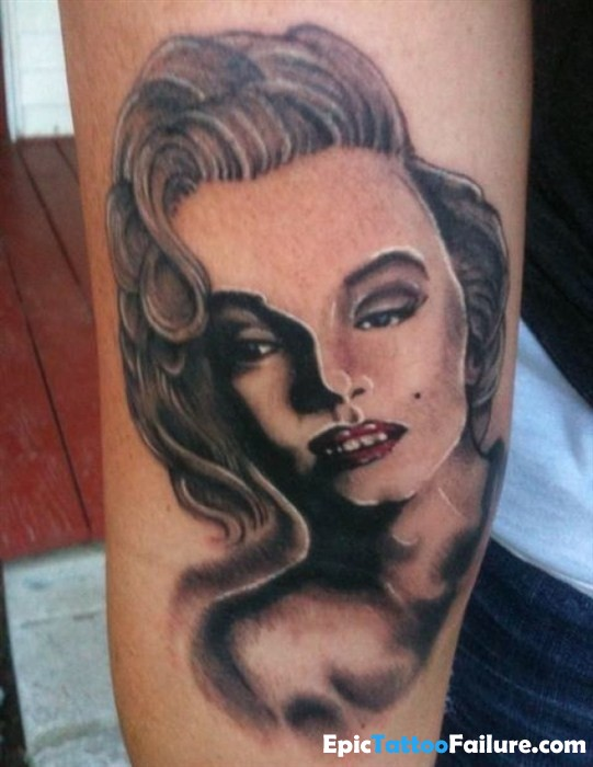 Wonderful And Nice Marilyn Monroe Girl Face Tattoo