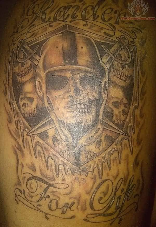Wonderful And Nice Oakland Raiders Tattoo Design