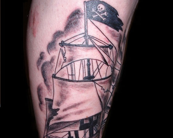 Wonderful And Simple Jolly Roger Pirate Ship Tattoo