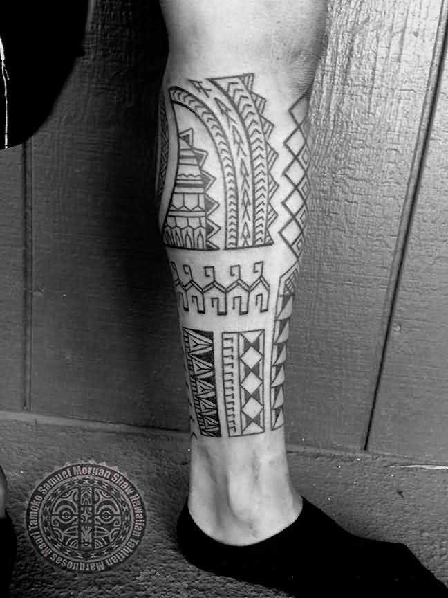 Wonderful Black And White Nice Filipino Leg Tattoo For Men
