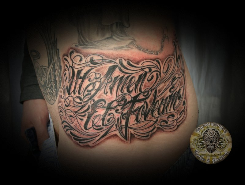 Wonderful Classy Latino Letters Tattoo Design