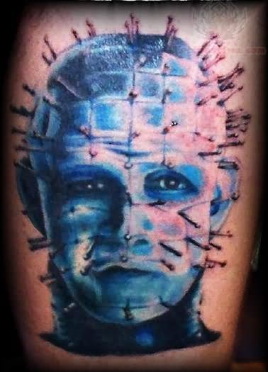 Wonderful Classy Pinhead Tattoo Design By Blue Ink