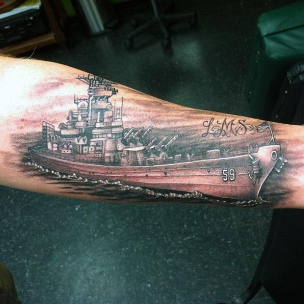 Wonderful Forearm Navy Ship Tattoo Design