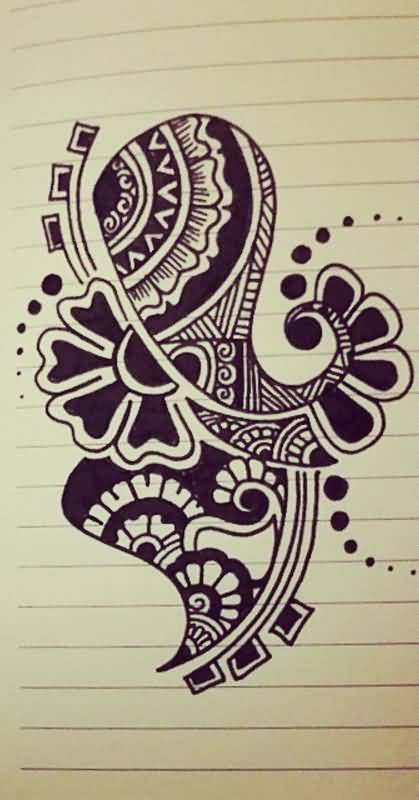 Wonderful Paisley Pattern Tattoo Design (2)