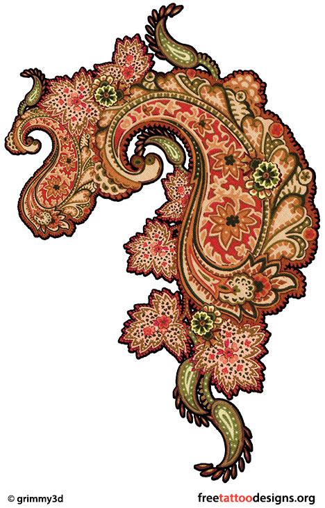 Wonderful Paisley Pattern Tattoo Design