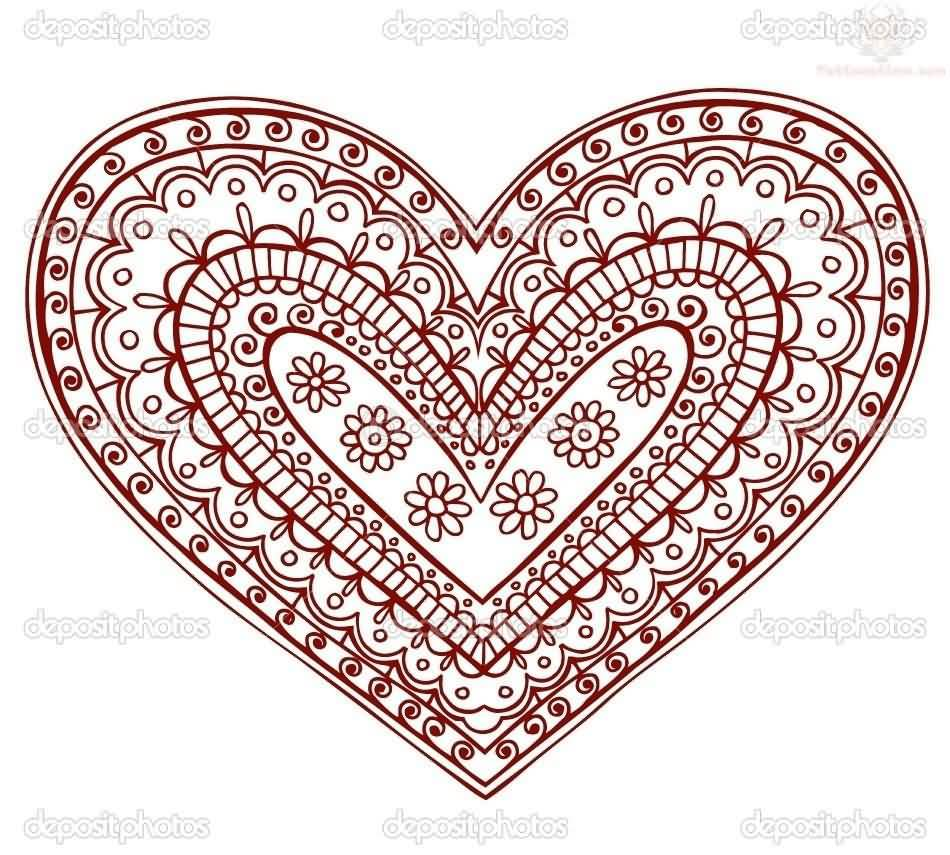 Wonderful Red Love Paisley Pattern Heart Tattoo