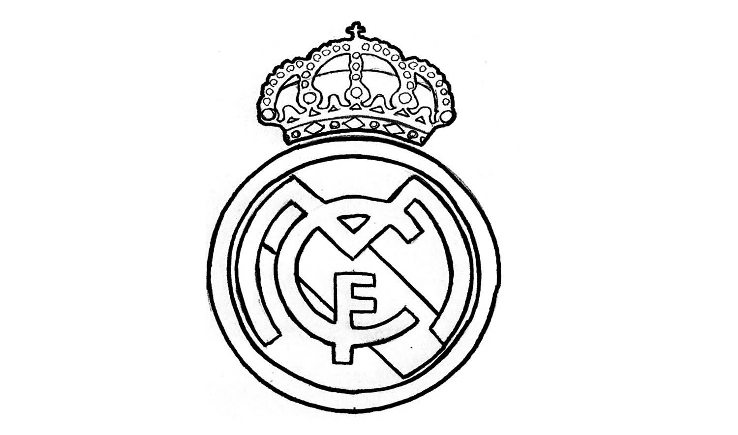 Wonderful Simple And Nice Real Madrid Logo Stencil Tattoo