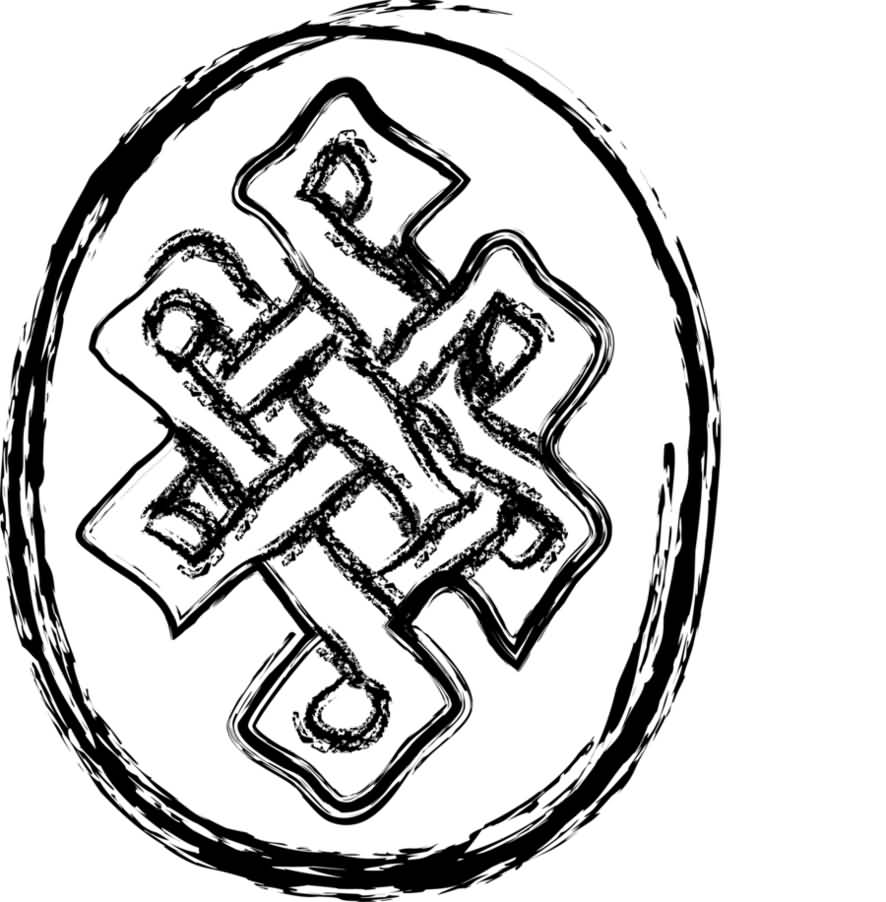 Wonderful Simple Endless Knot In Circle Tattoo