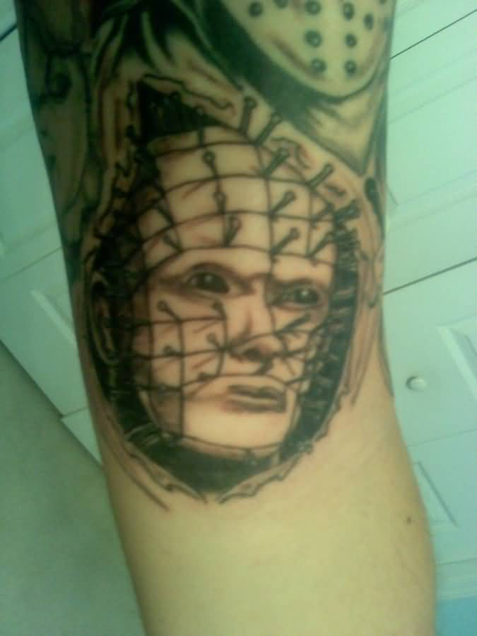 Wonderful Simple Pinhead Face Tatto