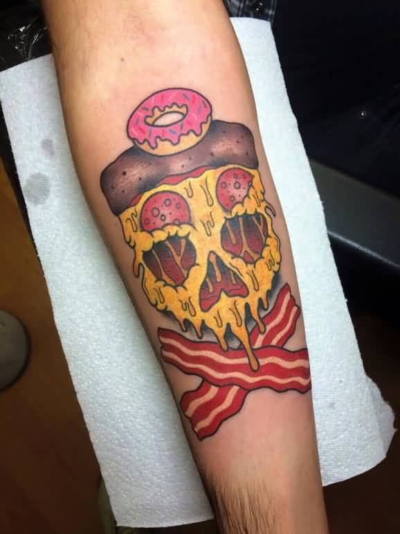 Wonderful Skull Pizza Tattoo