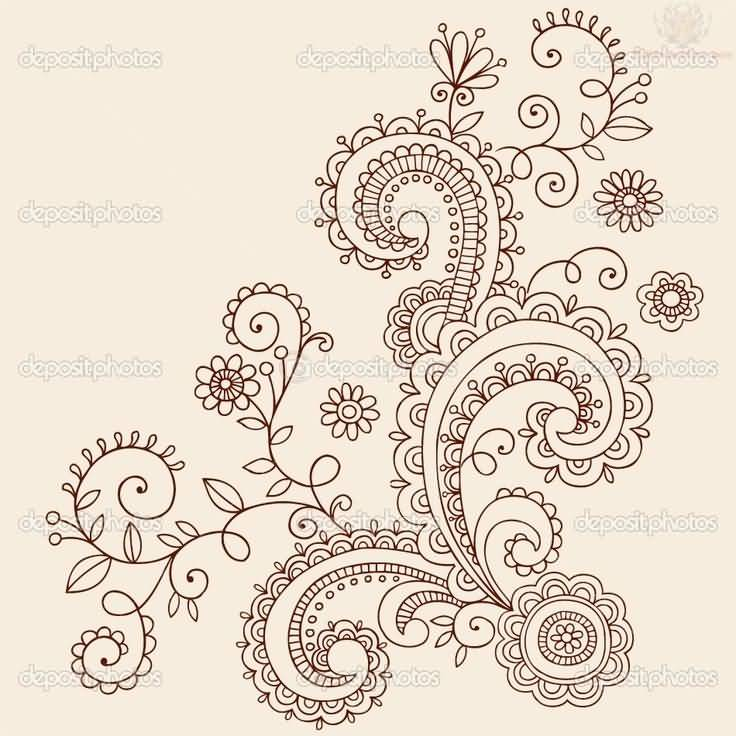 Wonderful Stencil For Paisley Pattern Tattoo