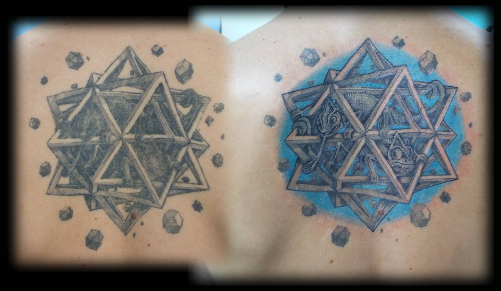 Wonderful Upper Back Nice Escher Star Tattoo By Adammdesigns