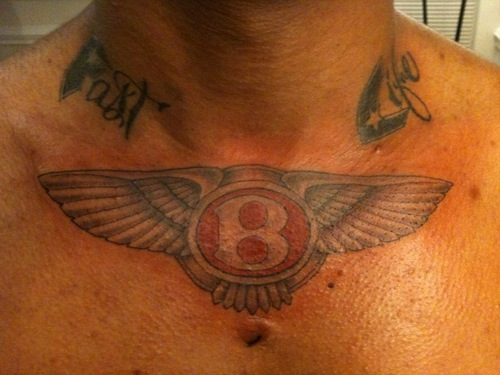 Wonderful Wings Amazing Bentley Text Tattoo
