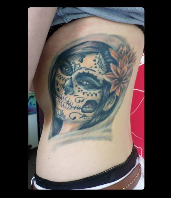 Xavielle Design A Amazing Catrina Face Tattoo For Side Rib