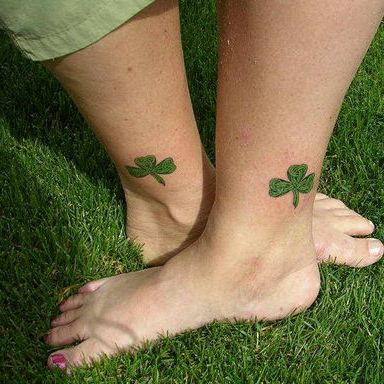hot Girls With Matching And Nice Shemrock 4 Leafs Tattoo On Ankle