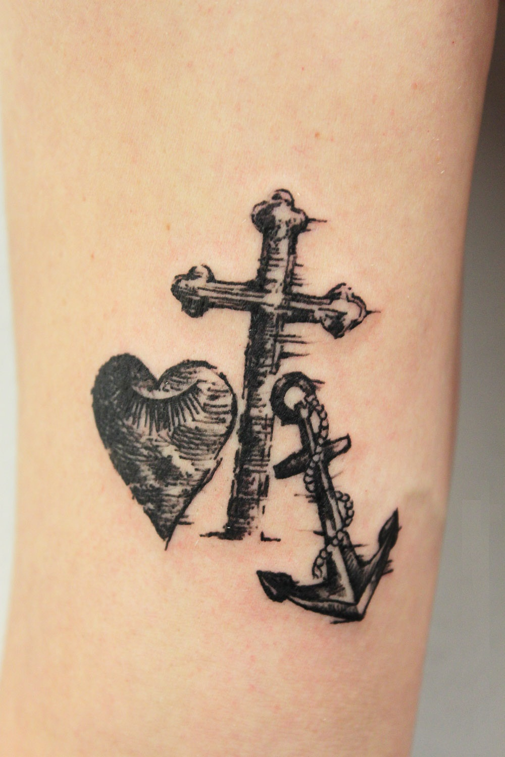 love, cross with anchor tattoo