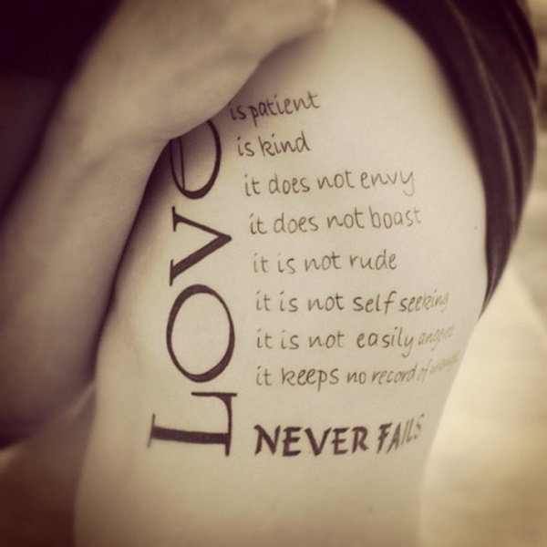 love is life love quote tattoo