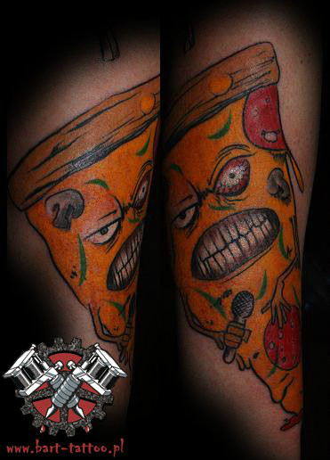 scary Angry Mood Face Of Pizza Tattoo