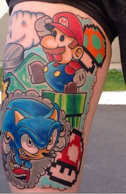 All Famous Video Game Sonic And Mario Tattoo On Leg