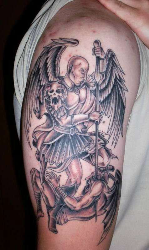 Angel Warrior Murder The Satan Tattoo On Half Sleeve
