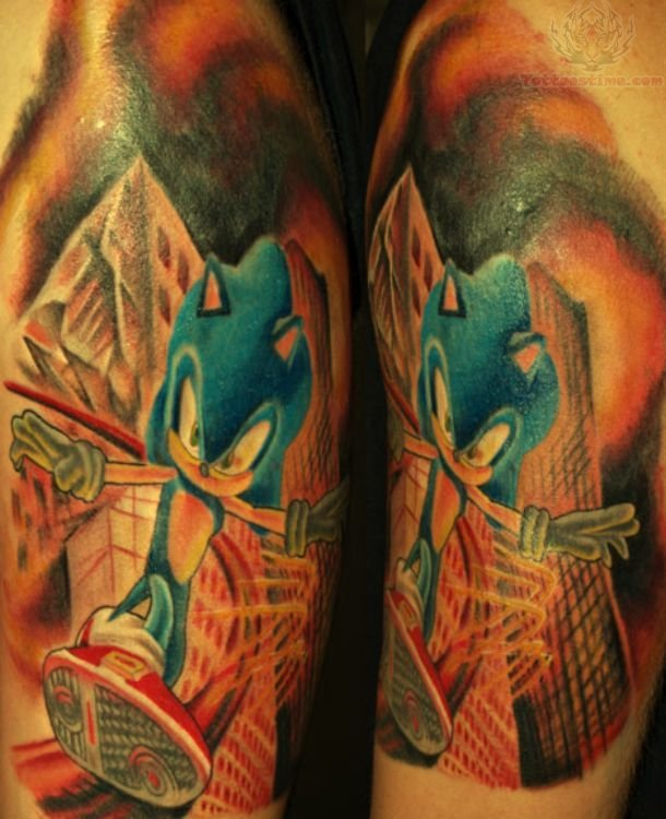 Angry Devil Seablue Ink Sonic Half Sleeve Tattoo