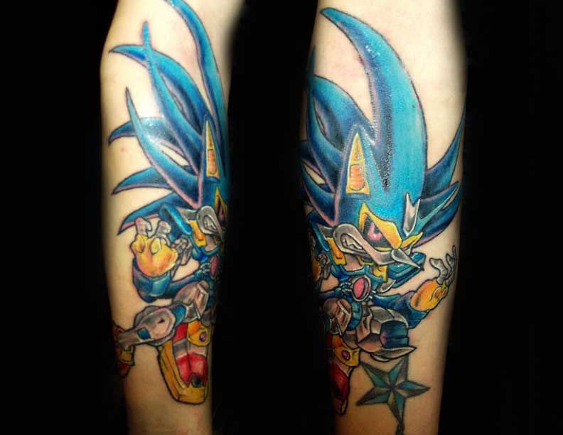 Angry Fighter Sonic Cartoon Tattoo