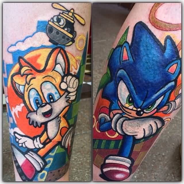 Angry Sonic With Tail Tattoo Design Idea