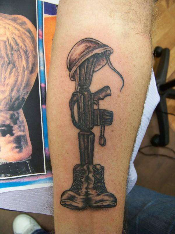 Army Remembrance Gun Hat And Shoes Tattoo