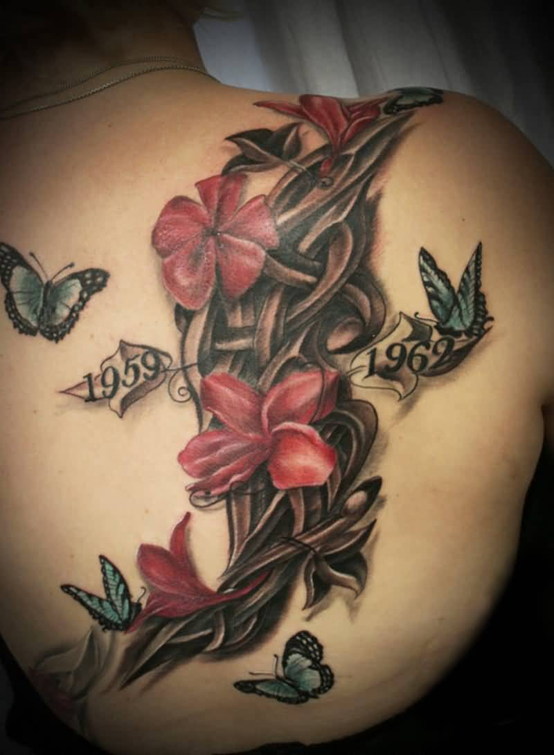 Beautiful Remembrance Flower With Date Butterfly Tattoo