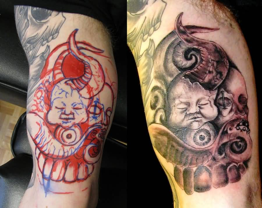 Before And After Amazing Sweet Satan Baby Face Tattoo