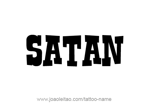Black Ink Nice Satan Simple word Tattoo Stencil