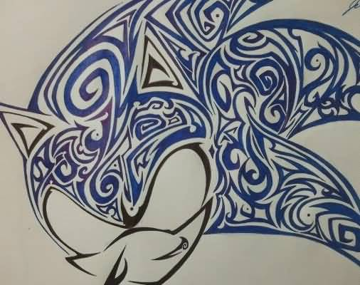 Blue And Black Ink Nice Sonic Tattoo Design