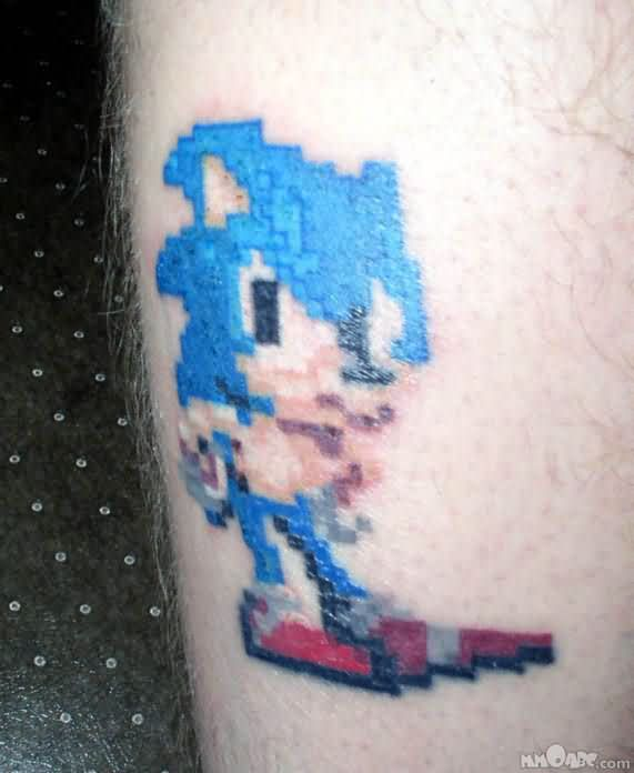 Blue Ink Nice Famous Sonic Cartoon Tattoo