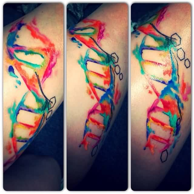 Colorful Awesome DNA Science Tattoo Design For Sleeve