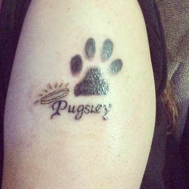 Dog Remembrance Paw Tattoo On Shoulder