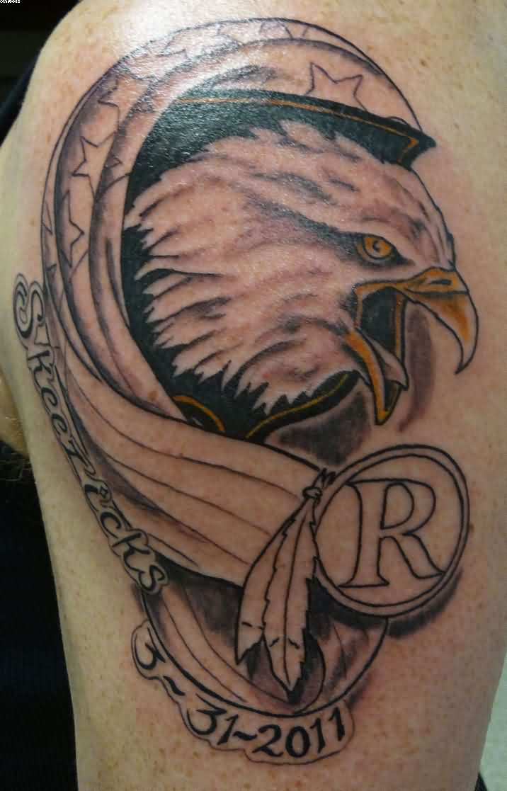 Eagle Face Remembrance With Feather Tattoo On Shoulder