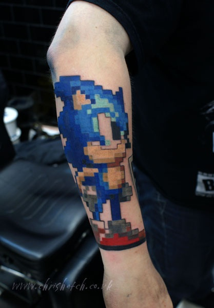 Eight Bit Amazing Lower Sleeve Sonic Angry Tattoo